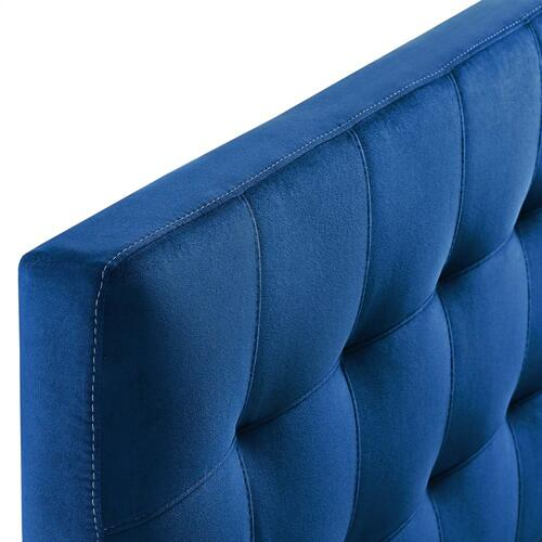 Lily King Biscuit Tufted Performance Velvet Headboard in Navy