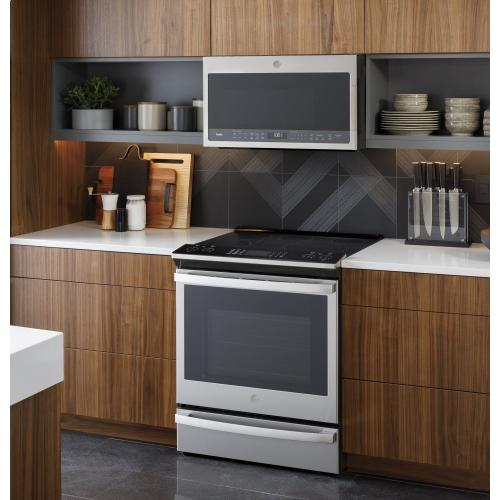 "GE Profile™ 30"" Smart Slide-In Electric Convection Fingerprint Resistant Range"