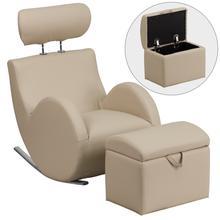 HERCULES Series Beige Vinyl Rocking Chair with Storage Ottoman