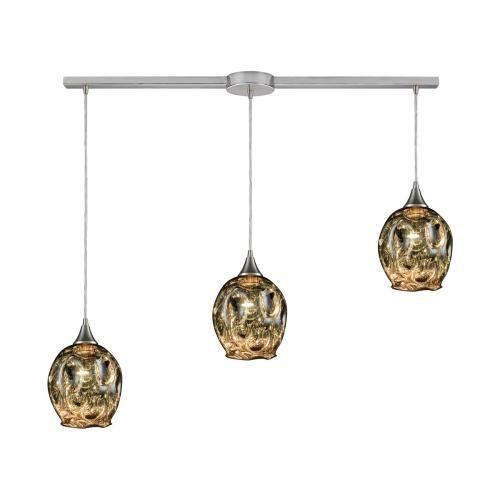 Morph 3-Light Linear Mini Pendant Fixture in Satin Nickel with Chrome-plated Blown Glass