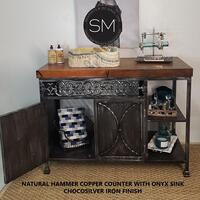 Bathroom Vanity Hammer Copper Counter With Onyx Sink Product Image