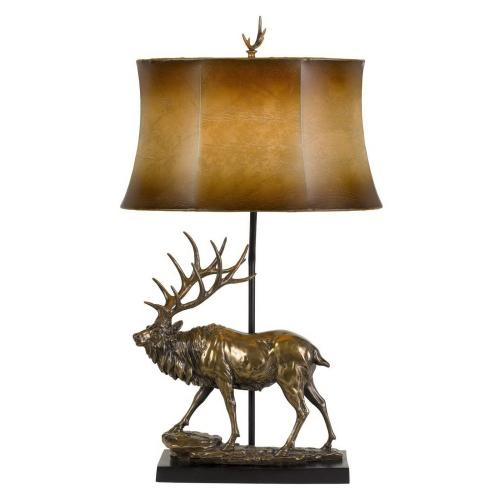 150W 3 Way Deer Resin Table Lamp With Leathrette Shade
