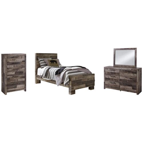 Ashley - Twin Panel Bed With Mirrored Dresser and Chest