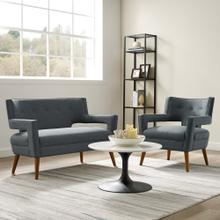 Sheer Upholstered Fabric Loveseat and Armchair Set in Gray