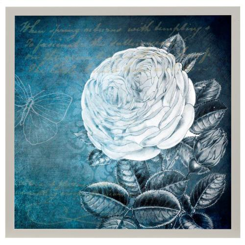 Style Craft - White Bloom II  Made in USA  Artist Print  Faux Wood Frame Under Glass  Attached Hanging Hardwar