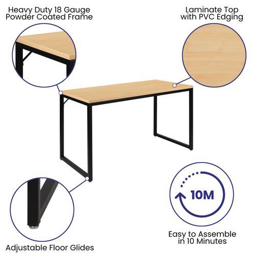 "Gallery - Tiverton Industrial Modern Desk - Commercial Grade Office Computer Desk and Home Office Desk - 47"" Long (Maple\/Black)"
