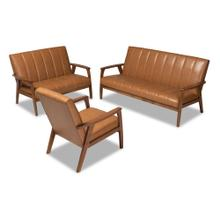 See Details - Baxton Studio Nikko Mid-century Modern Tan Faux Leather Upholstered and Walnut Brown finished Wood 3-Piece Living Room Set