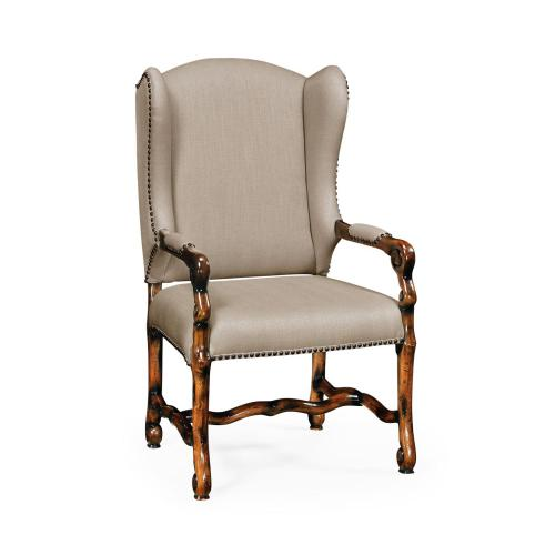 Upholstered armchair in Rustic Walnut