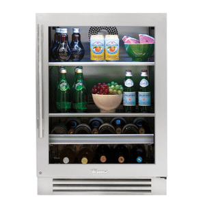 True Residential24 Inch Stainless Glass Door Right Hinge Undercounter Beverage Center