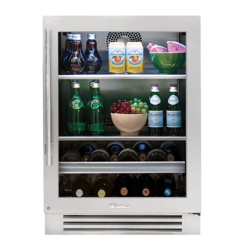 True Residential - 24 Inch Stainless Glass Door Right Hinge Undercounter Beverage Center