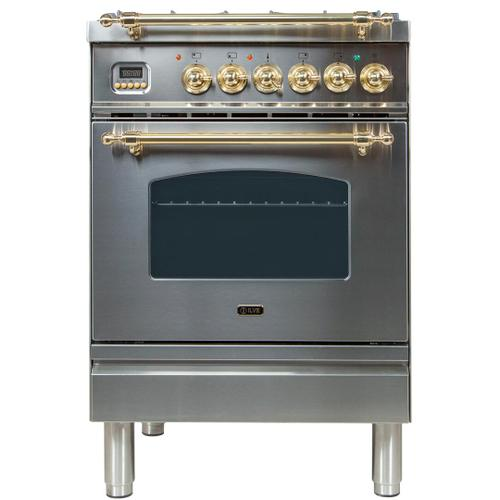 Nostalgie 24 Inch Dual Fuel Natural Gas Freestanding Range in Stainless Steel with Brass Trim
