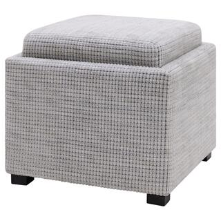 Cameron Square Fabric Storage Ottoman w/ tray, Squarespace Gray