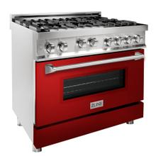 """See Details - ZLINE 36"""" Professional 4.6 cu. ft. 6 Gas on Gas Range in Stainless Steel with Color Door Options (RG36) [Color: Red Gloss]"""