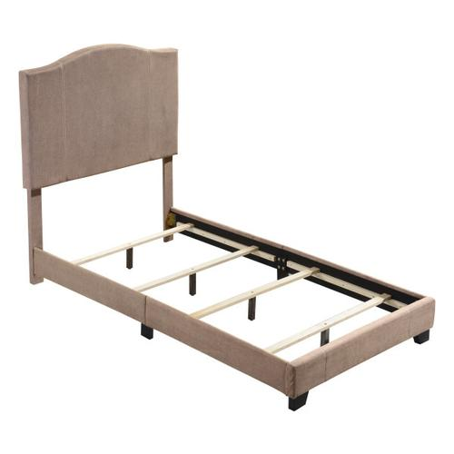 Stitched Camel Back Twin Upholstered Bed in Sandy Beige
