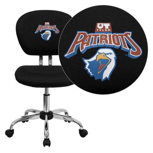 Texas at Tyler Patriots Embroidered Black Mesh Task Chair with Chrome Base