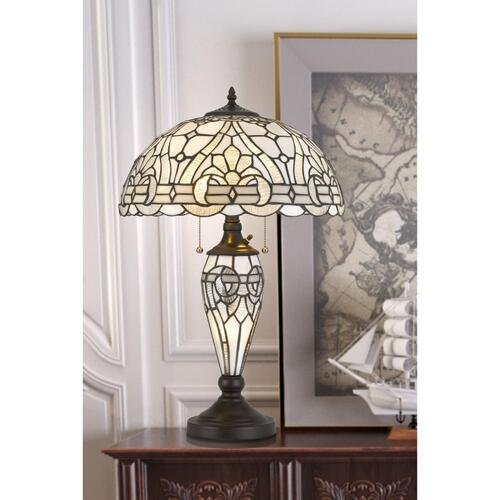 Cal Lighting & Accessories - 60W X 2 Tiffany Table Lamp With 7W Night Light