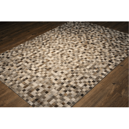 Durable Handmade Natural Leather Patchwork Cowhide Tikkul Area Rug by Rug Factory Plus - 8' x 10' / Cola