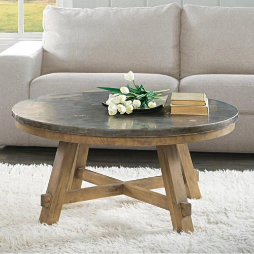 Weatherford Round Coffee Table with Bluestone Top Finish