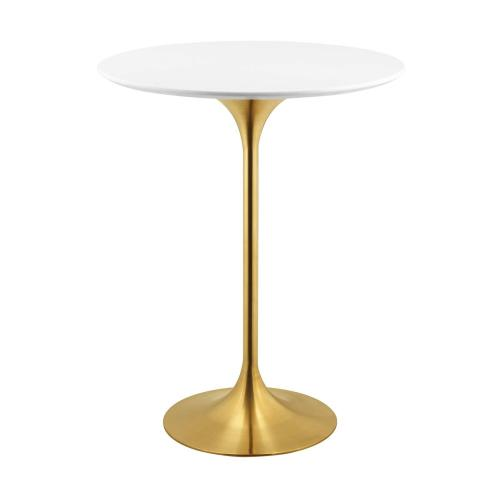 """Lippa 28"""" Wood Top Bar Table in Gold White"""