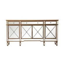 72 inch mirrored credenza in gold