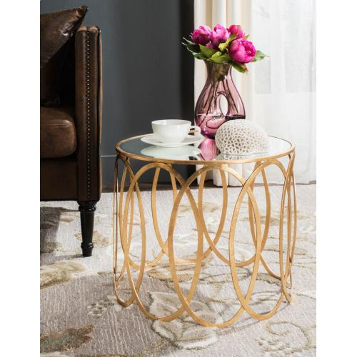 Cyrah Gold Leaf Accent Table - Antique Gold