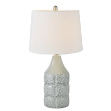 Embossed Floral Table Lamp. 100W Max. 3 Way Switch.