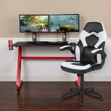 Red Gaming Desk and White\/Black Racing Chair Set with Cup Holder and Headphone Hook
