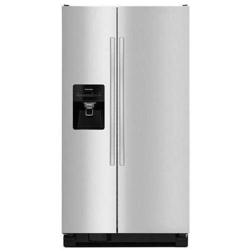 Gallery - Amana® Side-by-Side Refrigerator with Dairy Center - Black-on-Stainless