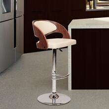Armen Living Malibu Swivel Barstool In Cream PU/ Walnut Veneer and Chrome Base