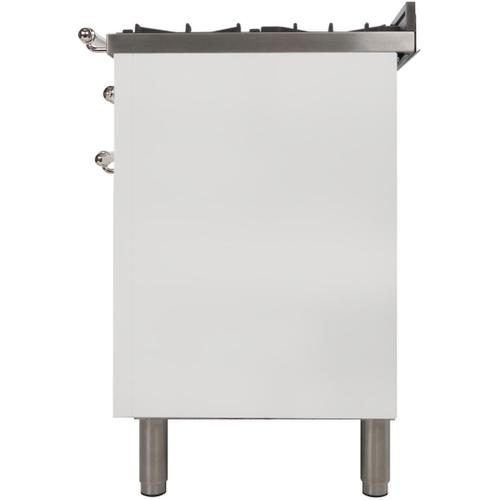 Ilve - Nostalgie 36 Inch Gas Natural Gas Freestanding Range in White with Chrome Trim