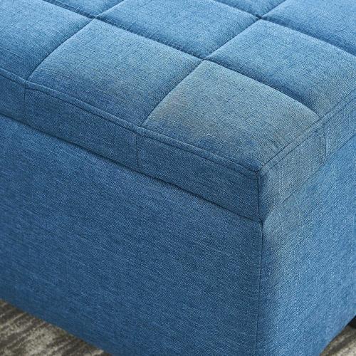 Lila Rectangular Storage Ottoman in Blue