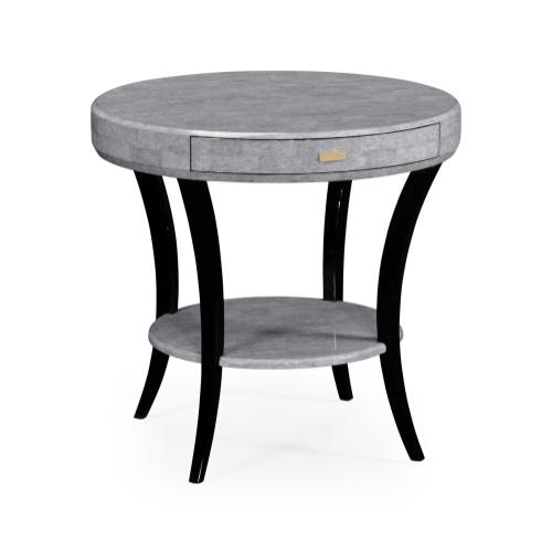 White Smoke Eggshell Round Side Table with Drawer