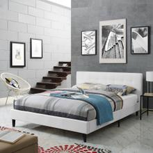 Linnea Queen Faux Leather Bed in White