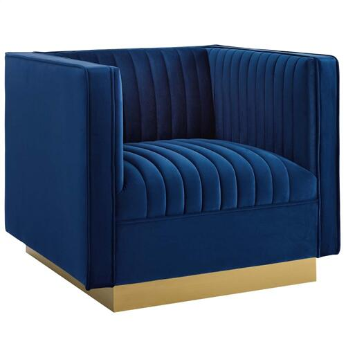 Modway - Sanguine Vertical Channel Tufted Upholstered Performance Velvet Armchair Set of 2 in Navy
