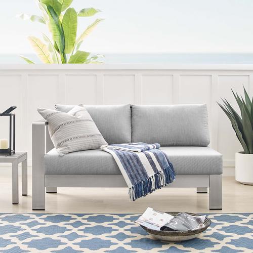 Shore Sunbrella® Fabric Aluminum Outdoor Patio Left-Arm Loveseat in Silver Gray