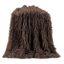 Mongolian Faux Fur Throw Blanket (6 Colors) - Chocolate