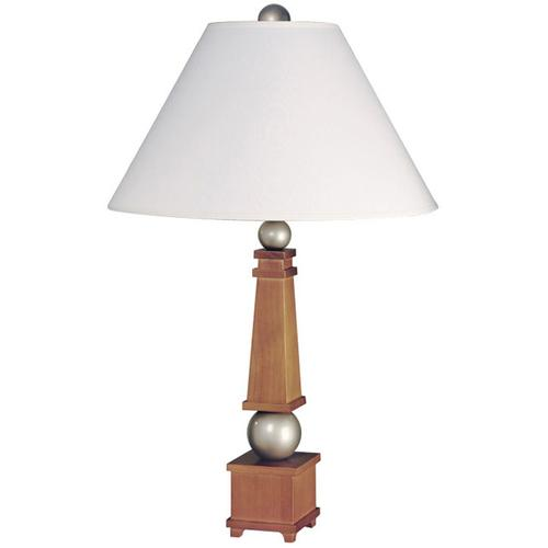 Wood Table Lamp, Honey Wood/silver/wht Fabric Shade 100w