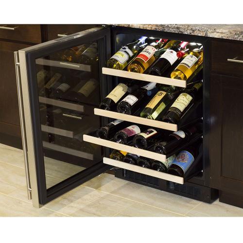 24-In Built-In High Efficiency Gallery Single Zone Wine Refrigerator with Door Swing - Left
