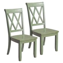 Vintage Distressed 2-Pack Green Side Chairs