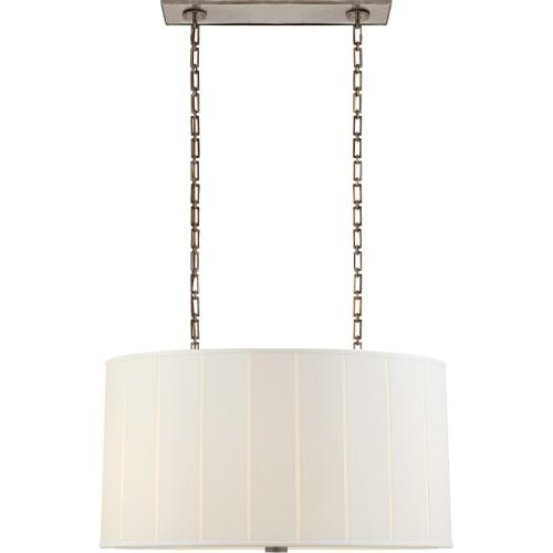 Visual Comfort BBL5031PWT-S Barbara Barry Perfect Pleat 4 Light 36 inch Pewter Hanging Shade Ceiling Light, Oval