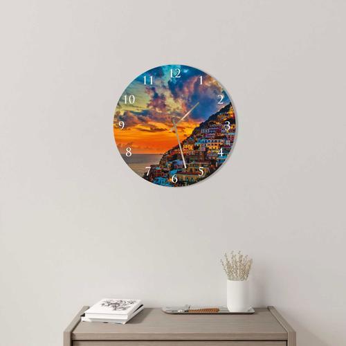 Grako Design - Amalfi Coast Round Square Acrylic Wall Clock
