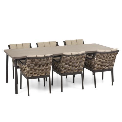 "MILOU 95"" Rectangular LWC Top Dining Table w/ umbrella hole"