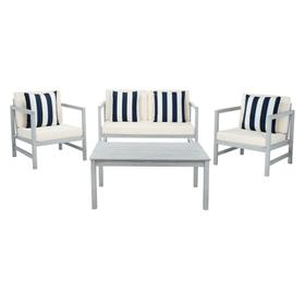 Montez 4 PC Outdoor Set With Accent Pillows - Grey / Beige / Navy & White