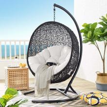 Encase Sunbrella® Swing Outdoor Patio Lounge Chair in Black White