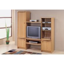 See Details - TV STAND - MAPLE ENTERTAINMENT CENTER