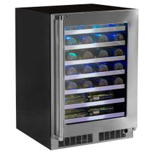 24-In Professional Built-In High Efficiency Single Zone Wine Refrigerator With Classic Hinge with Door Swing - Right