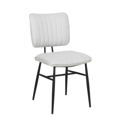 Upholstered Channel Back Dining Chair in Natural White