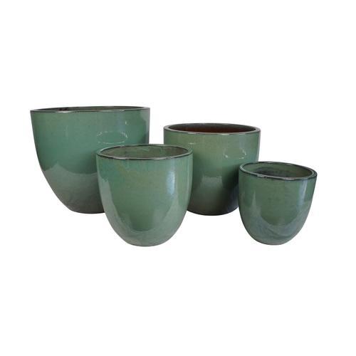Alfresco Home - Verdone Mezzo Round Planter (Set of 4) - Mare Green
