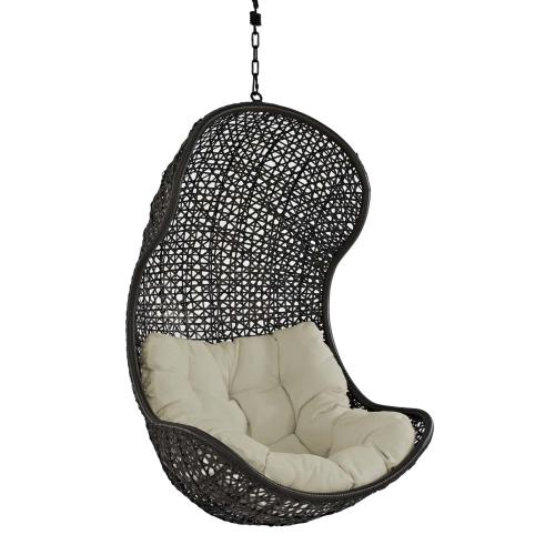 Parlay Swing Outdoor Patio Fabric Lounge Chair in Espresso Beige