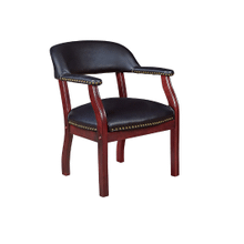 Traditional Captain's Chair Conference Chair Vinyl Leather - Available both with and without casters - Black